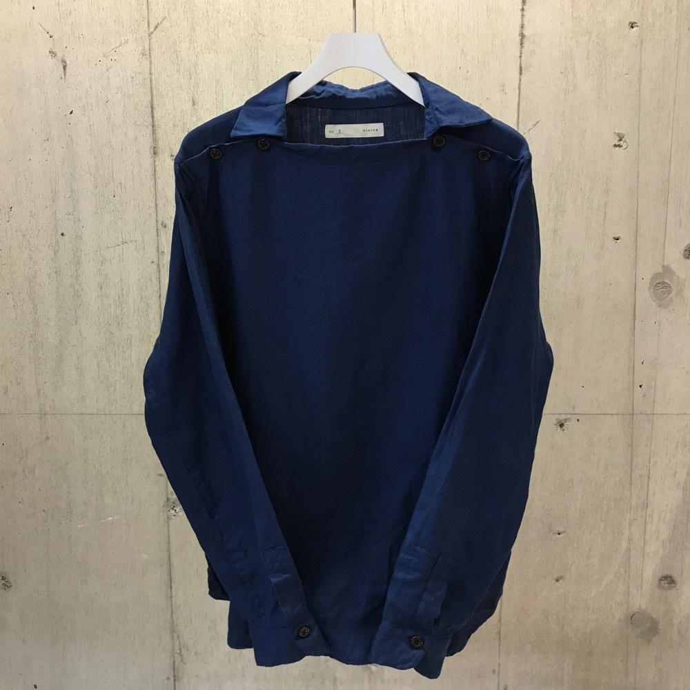 nisica デッキマンシャツ 麻BLUE
