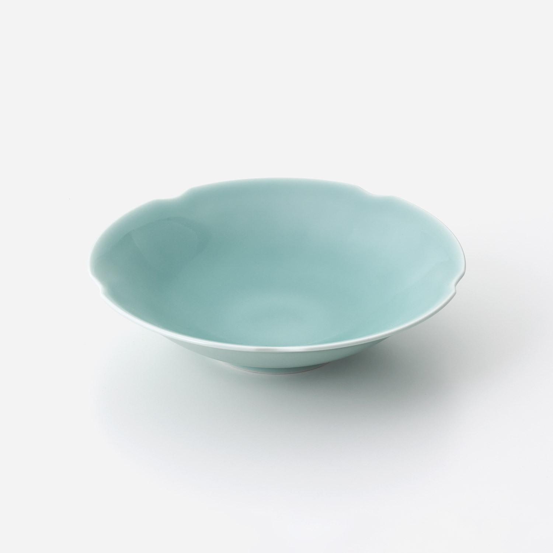 青磁花型 大鉢