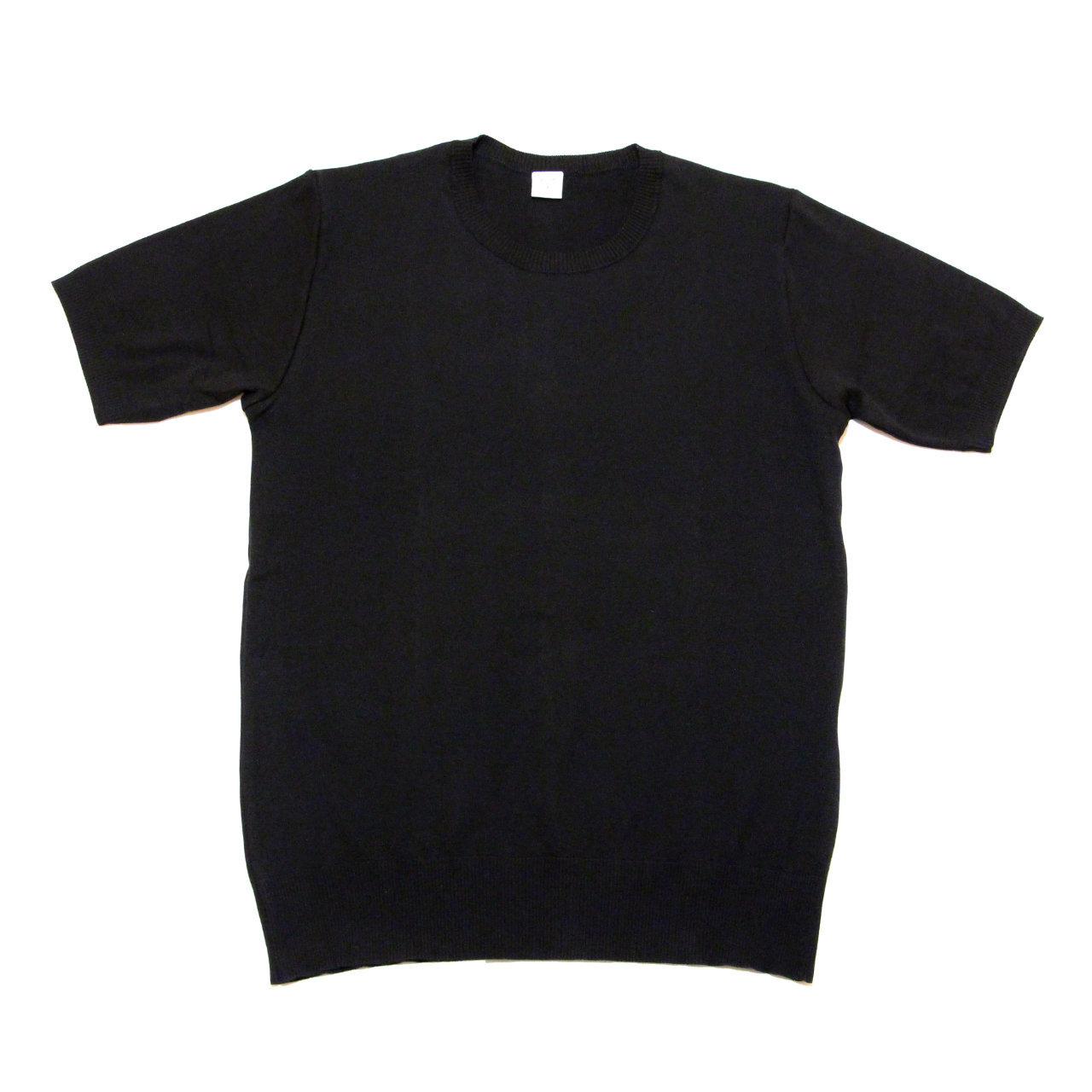 【gicipi】 イタリア製 コットン ニット クルーネック Tシャツ (Giro Collo MM 2006 P) 〈Black〉