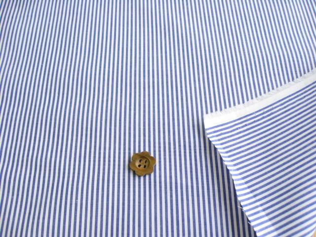 綿ブロード・サマーストライプ(織物) ホワイト+ブルー CTM-0110