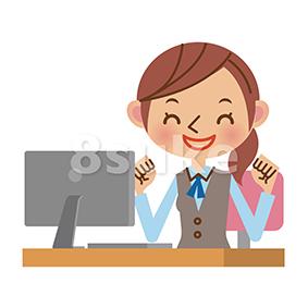 イラスト素材:パソコンの前でガッツポーズするOL・事務職の女性(ベクター・JPG)