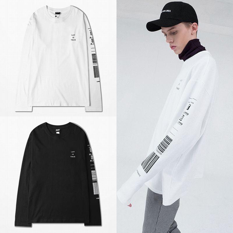 ユニセックス 長袖 Tシャツ 韓国ファッション メンズ レディース 袖プリント バーコード ラウンドネック オーバーサイズ 大きいサイズ ストリート