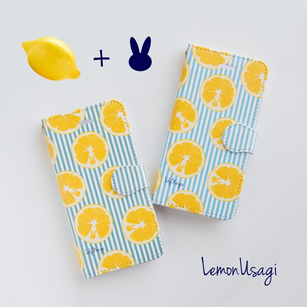 レモンとウサギのスマホケース