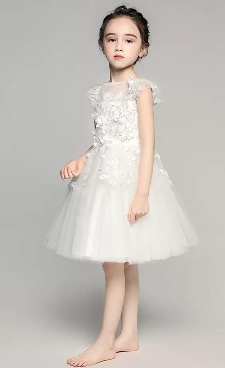 4609df6225e477 (geyaner_X0013) お花のドレス 膝丈レースドレス ホワイト ピアノ 発表会 ドレス 子供 130 140 150 160 ドレス 子供  結婚式 キッズ ドレス 子供 発表会