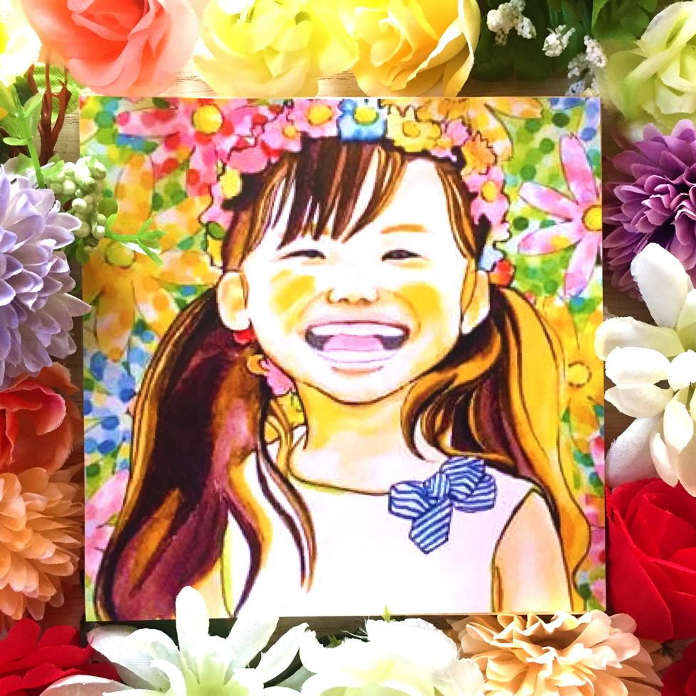 絵画 インテリア アートパネル 雑貨 壁掛け 置物 おしゃれ 水彩画 イラスト 笑顔 お花  ロココロ 画家 : ゆりんぐ 作品 : どんな素敵なお花だって君の笑顔の前では霞んでしまうよ