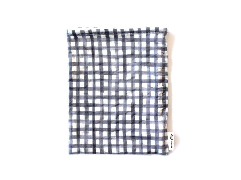 ハリネズミ用寝袋 M(夏用) 綿リップル×スムースニット チェック グレー