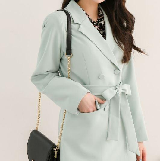 【送料無料】 大人可愛い春色コーデ♡ 上品 フェミニン テーラード ジャケット ダブルボタン ウエストマーク付き
