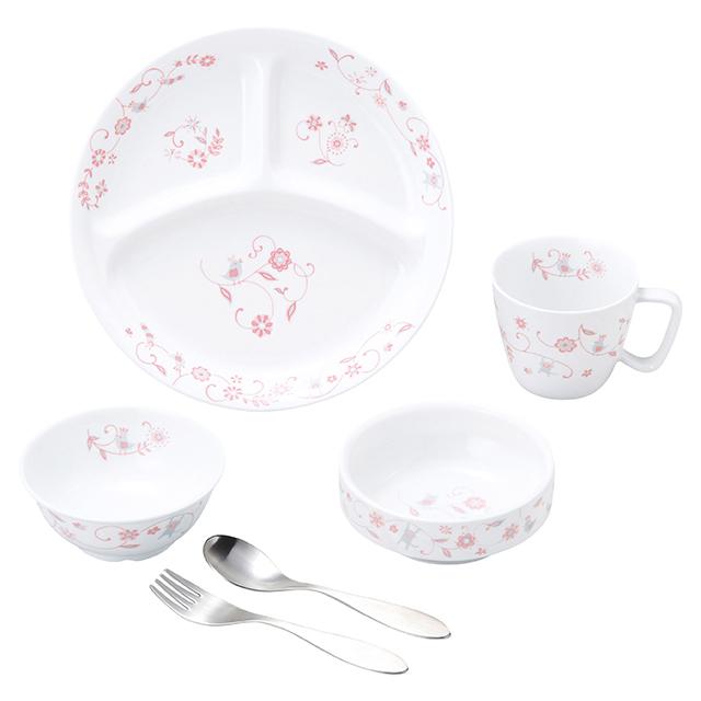 【SET-0059 1310】強化磁器 こども用 食器&スプーンフォークセット サラサ・ピンク