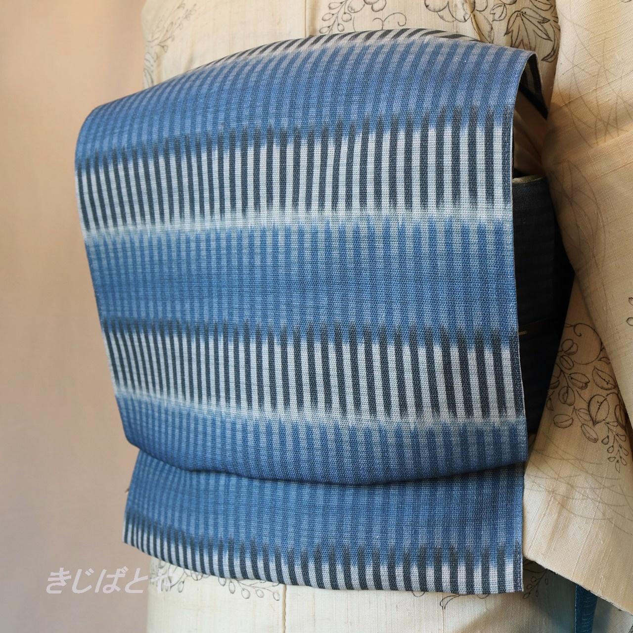 麻染め 濃二藍のぼかし縞の八寸なごや