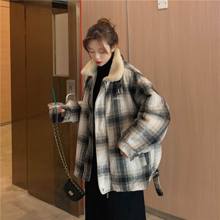 【送料無料】 あったかボア付き♡ チェック柄 裏地ボア ハイネック コート ジャケット アウター