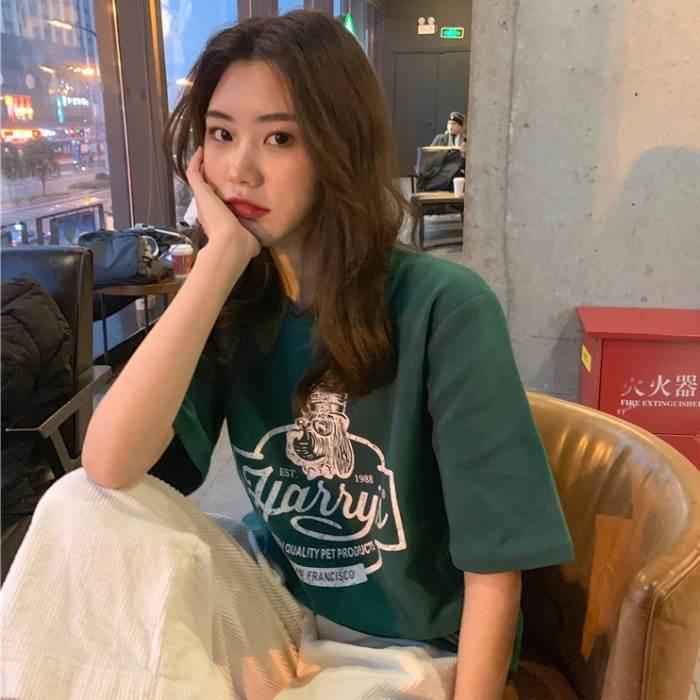 【送料無料】大人カジュアル ♡ メンズライク オーバーサイズ プリント ロゴ 半袖 Tシャツ トップス