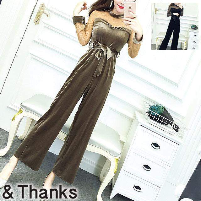 ドレス特集 ベルベットワイドレッグパンツドレス 2カラー 2サイズ
