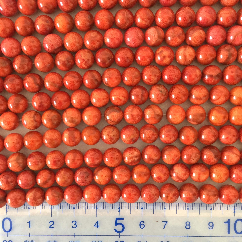 スポンジサンゴ 約8~8.5mm 明色 連材【190020D】