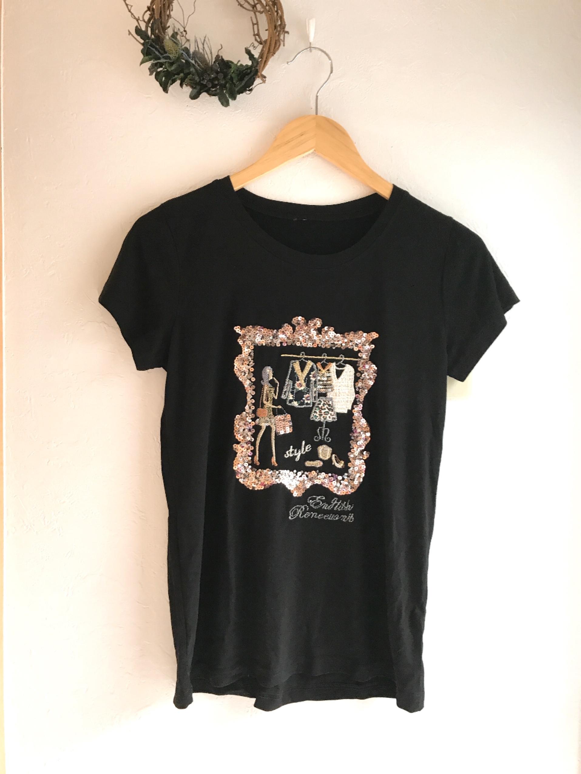 女の子のオシャレクローゼット柄Tシャツ ブラック