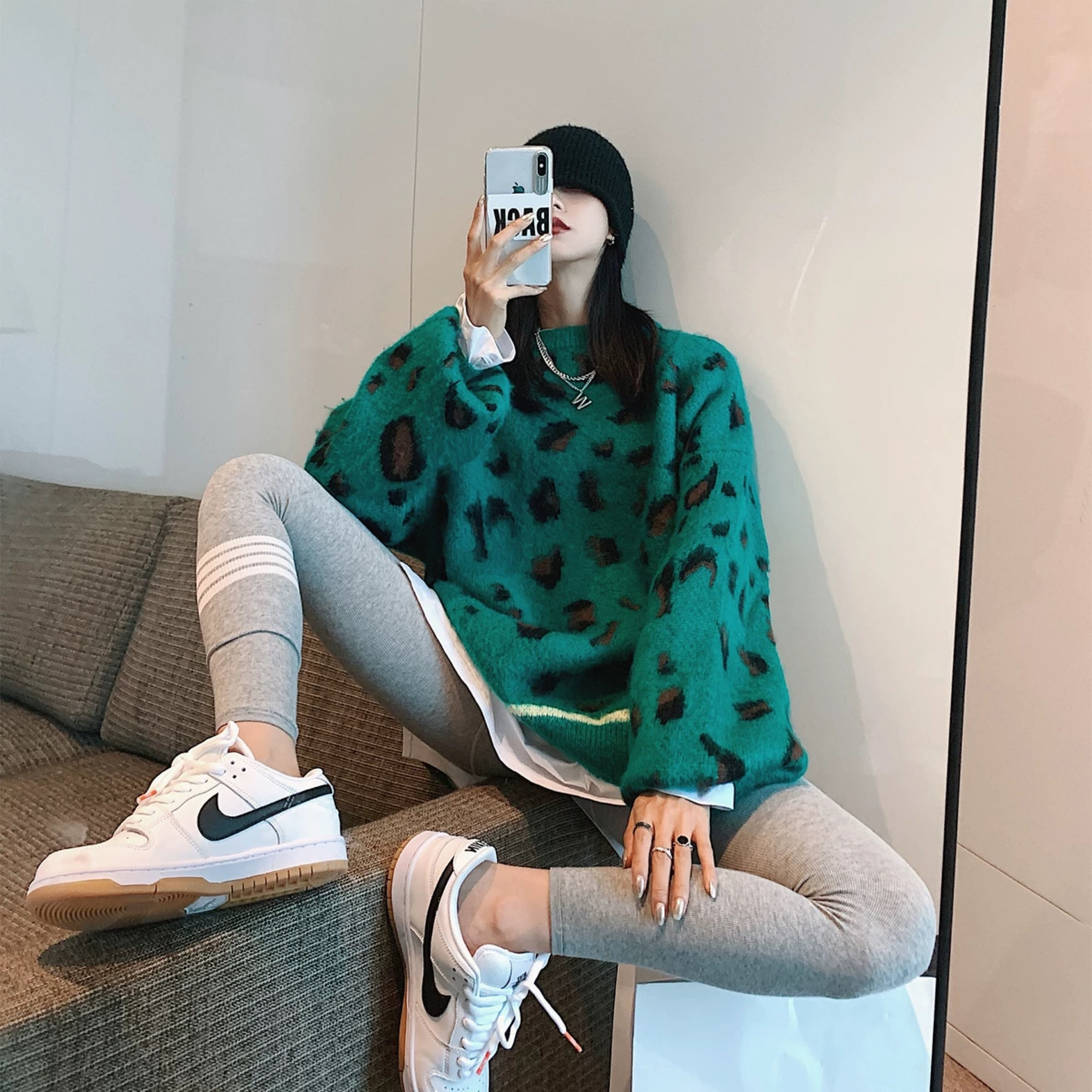 green leopard knit