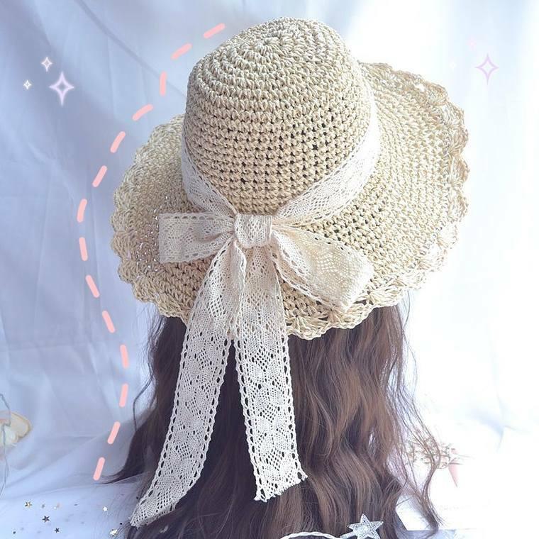 【送料無料】 夏のお出掛けに♡ スローハット 麦わら帽子 レースリボン つば広 ビッグリボン 紫外線対策