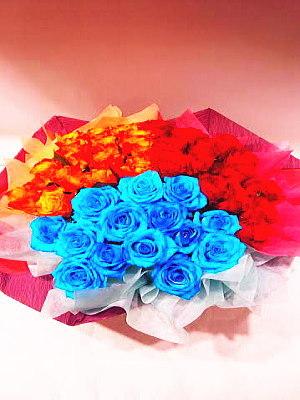 ar005 フラワーアレンジ 3色バラ