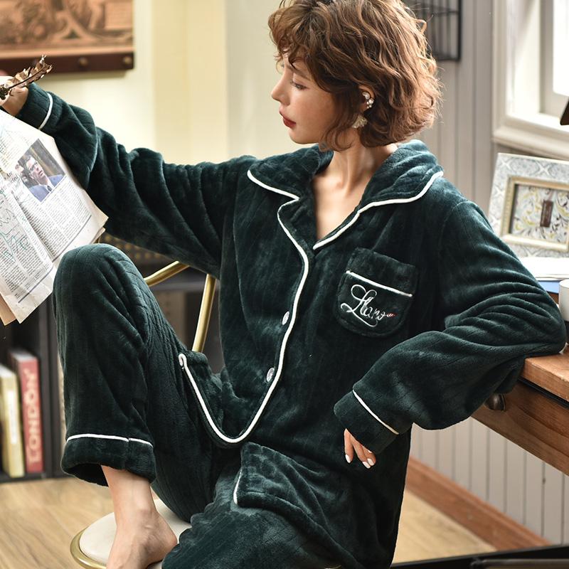 【パジャマ】カジュアルシングルブレスト長袖無地裏起毛ルームウェアパジャマ上下セット34069374
