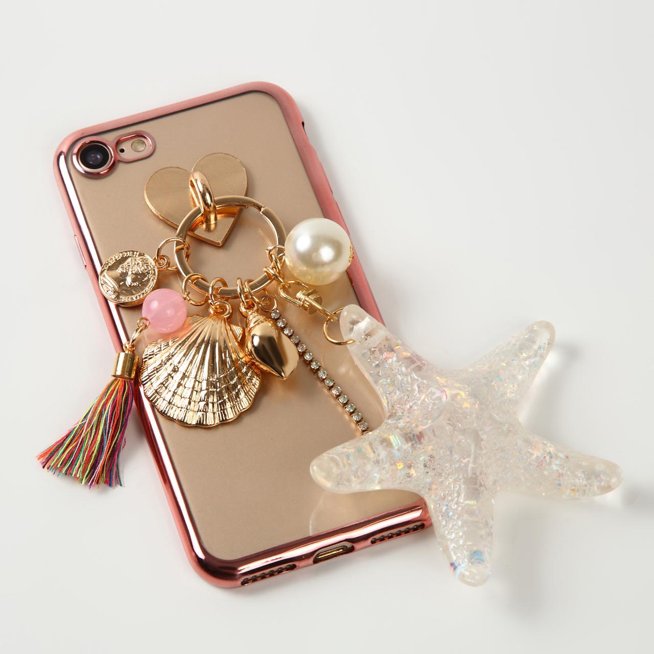 限定10個セール【即納★送料無料】縁ローズゴールドソフトケースにヒトデ 貝殻 チャーム付 iPhoneケース