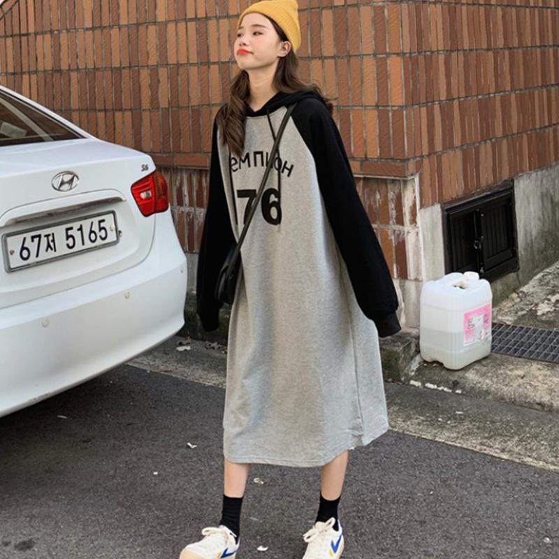 【dress】アルファベットシンプル配色ロングカジュアルワンピース23887183