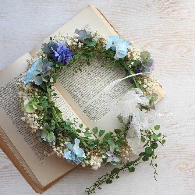 花冠ラスティックかすみ草と紫陽花(⑦⑩⑬⑭)バックガーランド付き【ボリュームアップ】