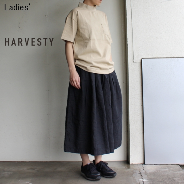 《18SS》HARVESTY リネンキュロットスカート A21804 (BLACK)