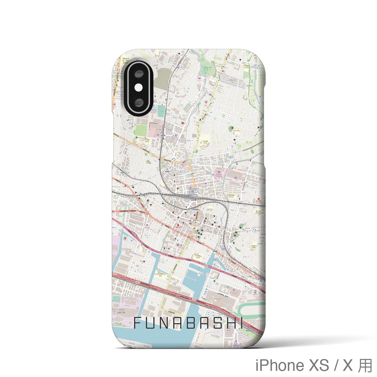 【船橋】地図柄iPhoneケース(バックカバータイプ・ナチュラル)