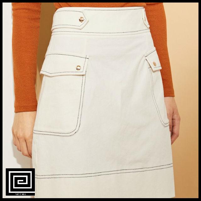 コントラストステッチポケットサイドスカート