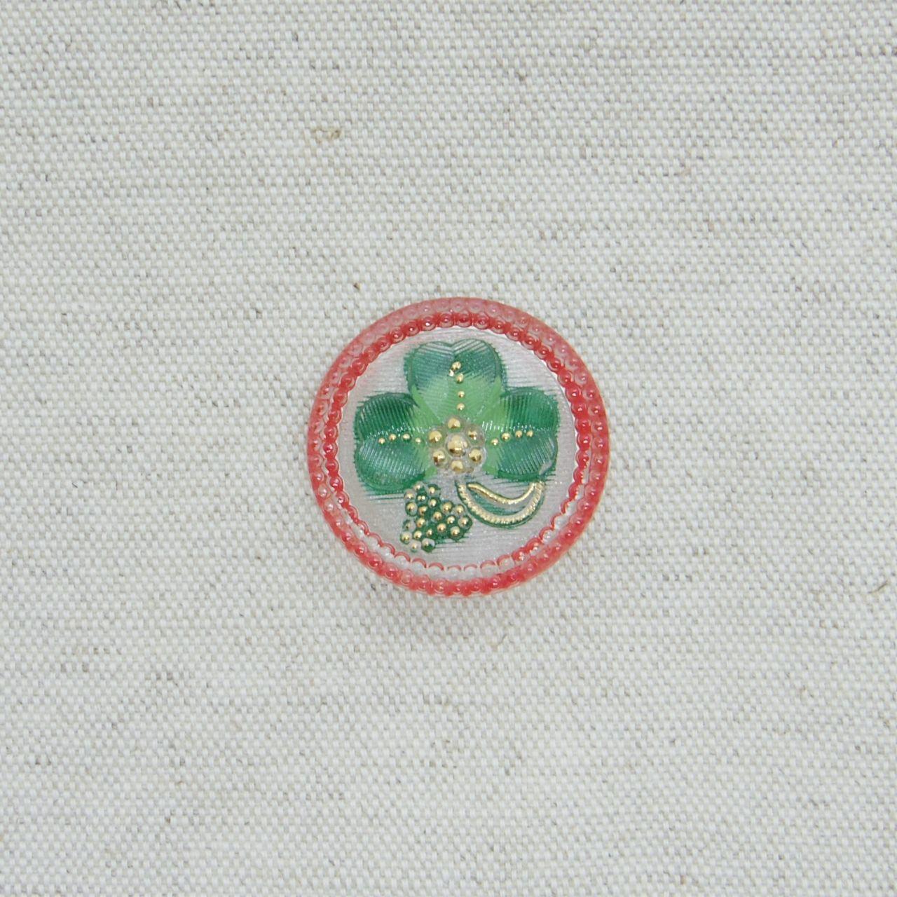 【チェコガラスボタン】クローバー・赤 ::: 大2.7cm