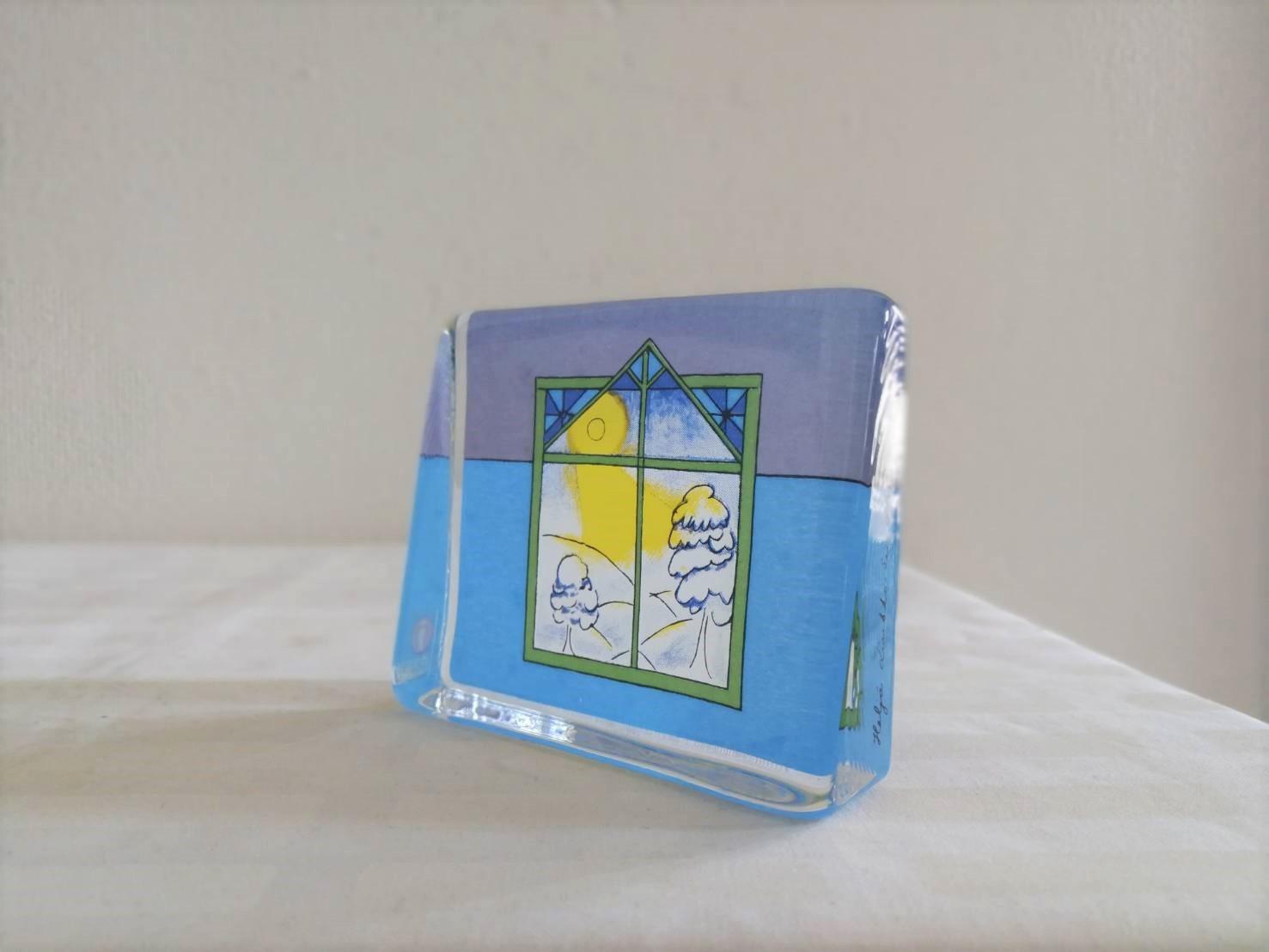 ガラスカード オブジェ / iittala イッタラ ヴィンテージ /窓からの雪景色 / ヘルヤ