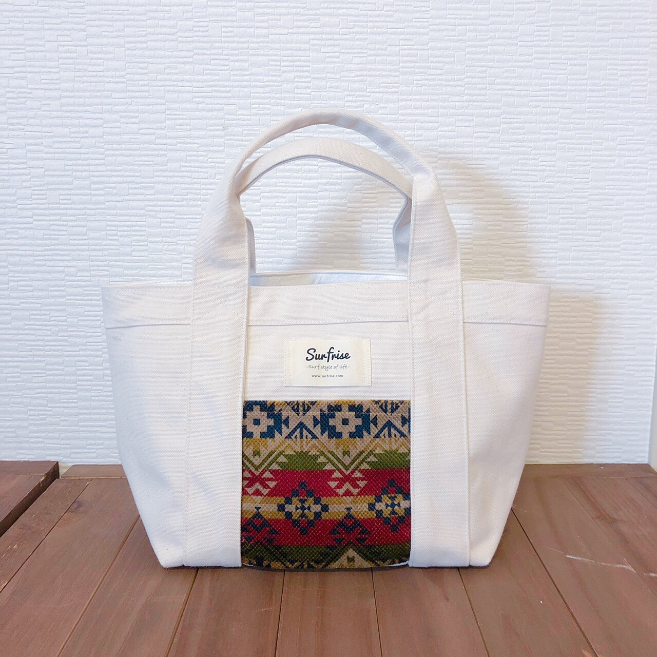 White camp tote bag S - Green