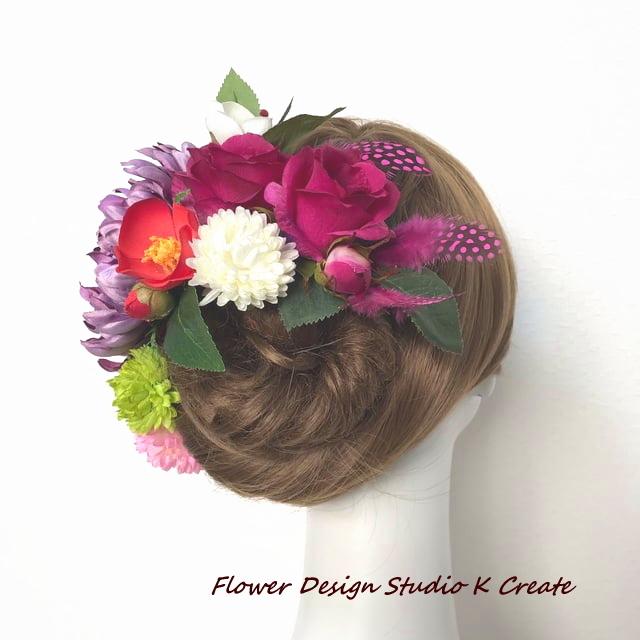 成人式 卒業袴 和装婚に♡紫の菊とバラのモダン着物髪飾り 12点セット(羽付き)