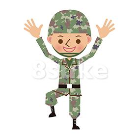 イラスト素材:バンザイをする自衛官・軍人(ベクター・JPG)