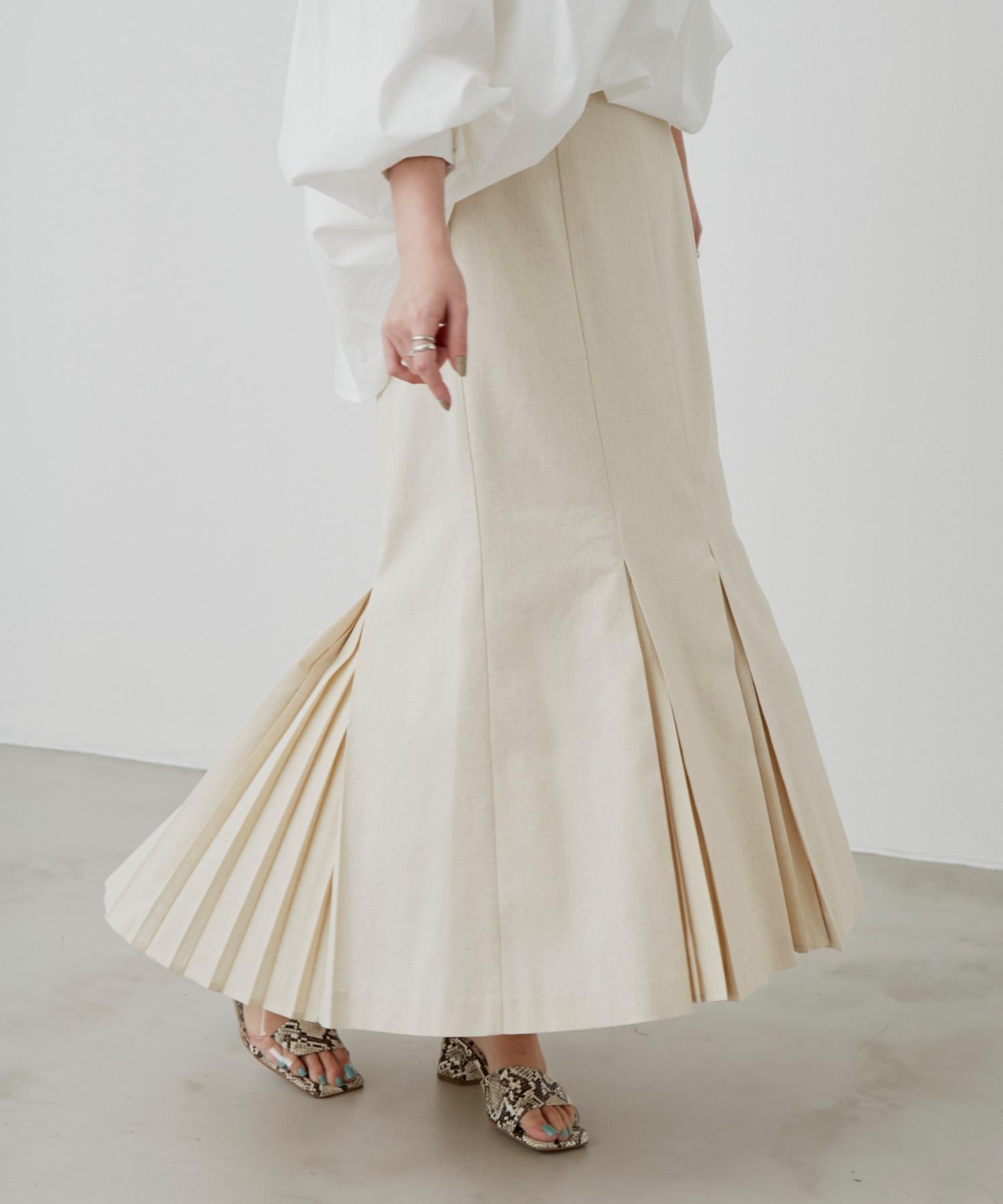 リネンライクプリーツスカート /BEG