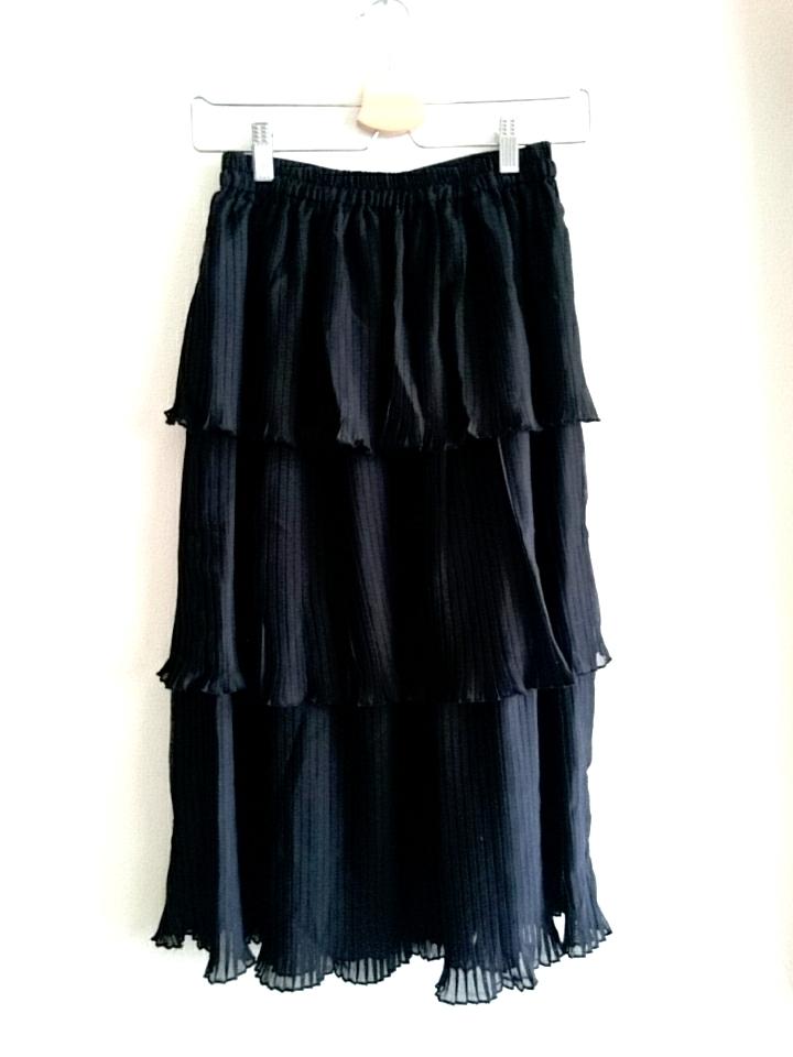 再再入荷★三段フリルのティアードプリーツスカート ブラック
