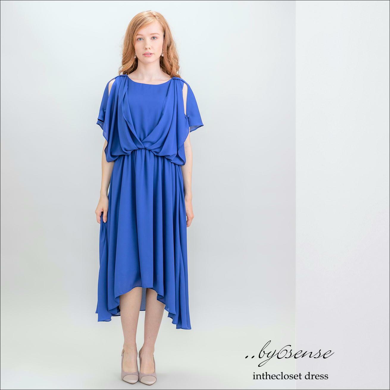 (ブルー)ノースリーブORフレンチ袖の2Wayフィッシュテールロングドレス