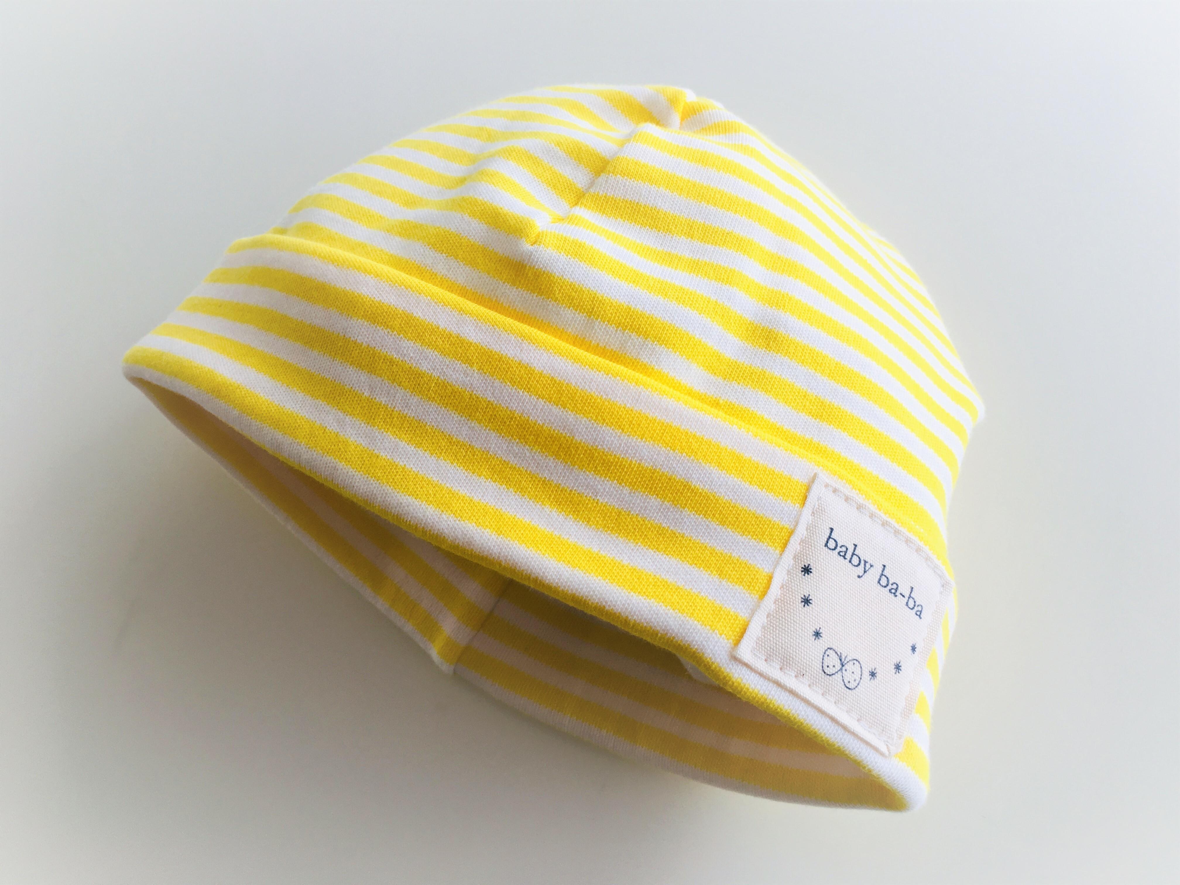 ベビーキャップ スムースニット黄色ボーダー