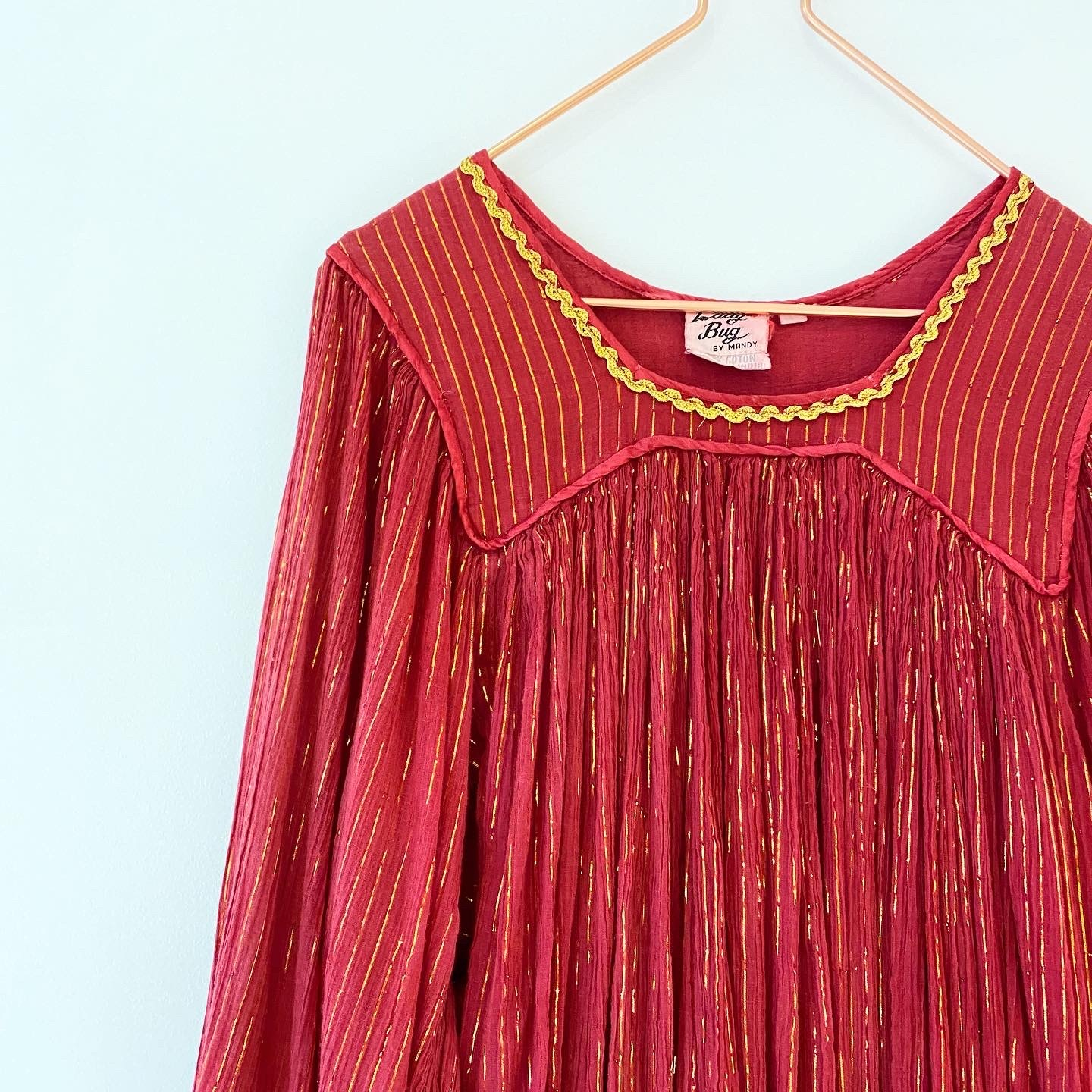 ◼︎80s vintage India cotton gold thread dress from India◼︎