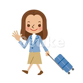 イラスト素材:スーツケースを引いて歩く若い女性(ベクター・JPG)