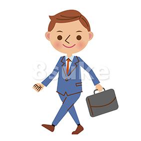 イラスト素材:カバンを持って歩くビジネスマン(ベクター・JPG)