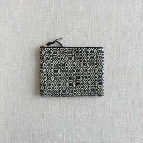手織りミニポーチ(Accessory case 14cm Black Flower)