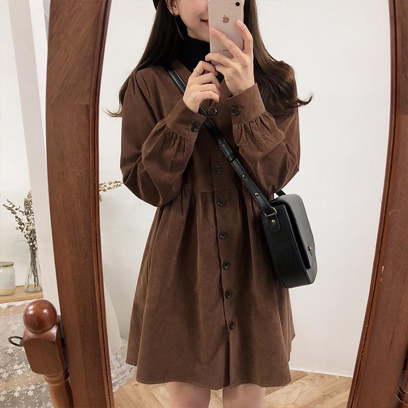 【dress】カジュアル長袖無地VネックAラインシャツワンピース15792950
