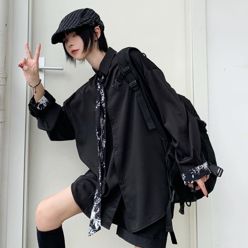 【tops】 無地デザイン感シングルブレストシャツ24030126