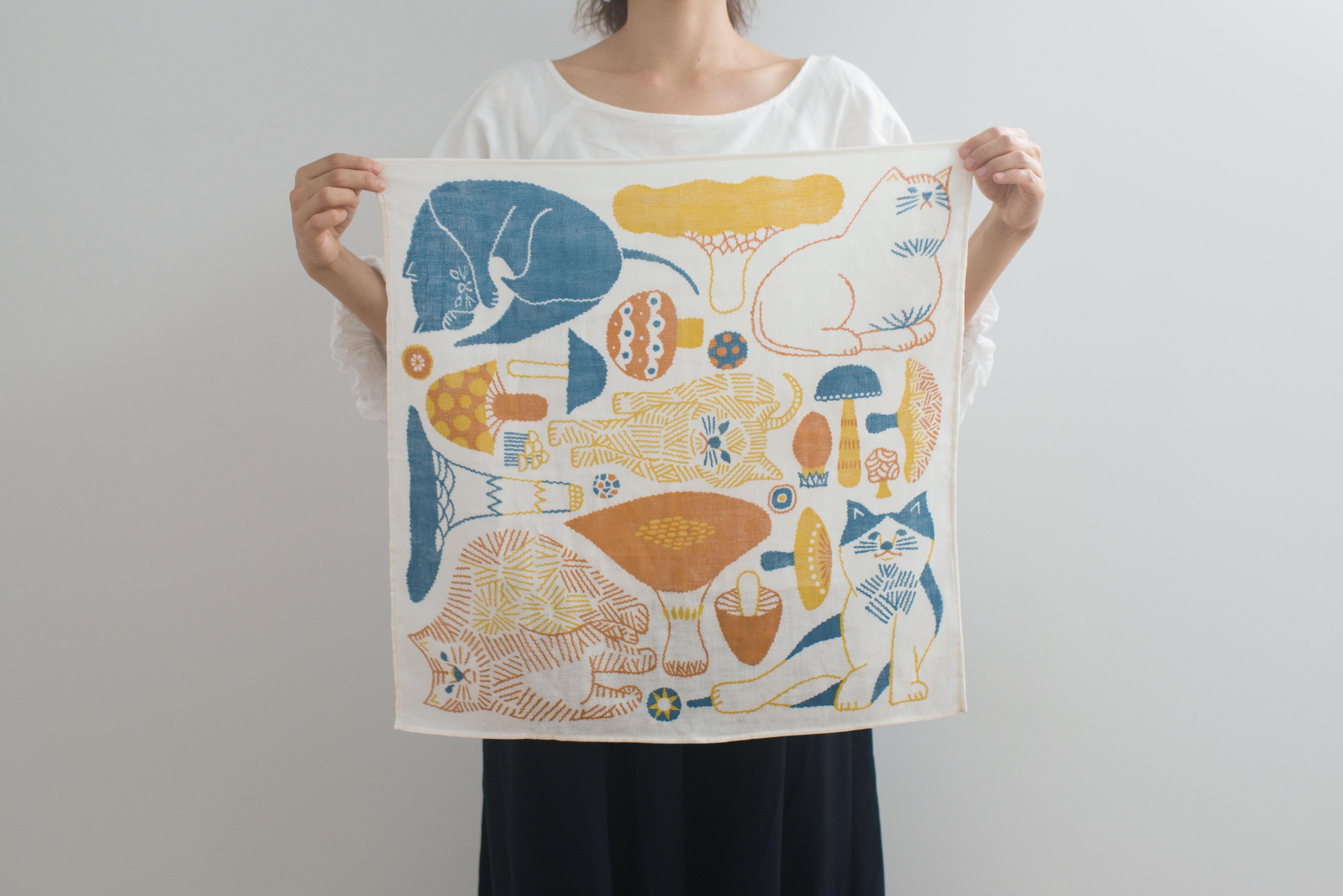 【十布】正方形のダブルガーゼM/猫とキノコ(オレンジ)