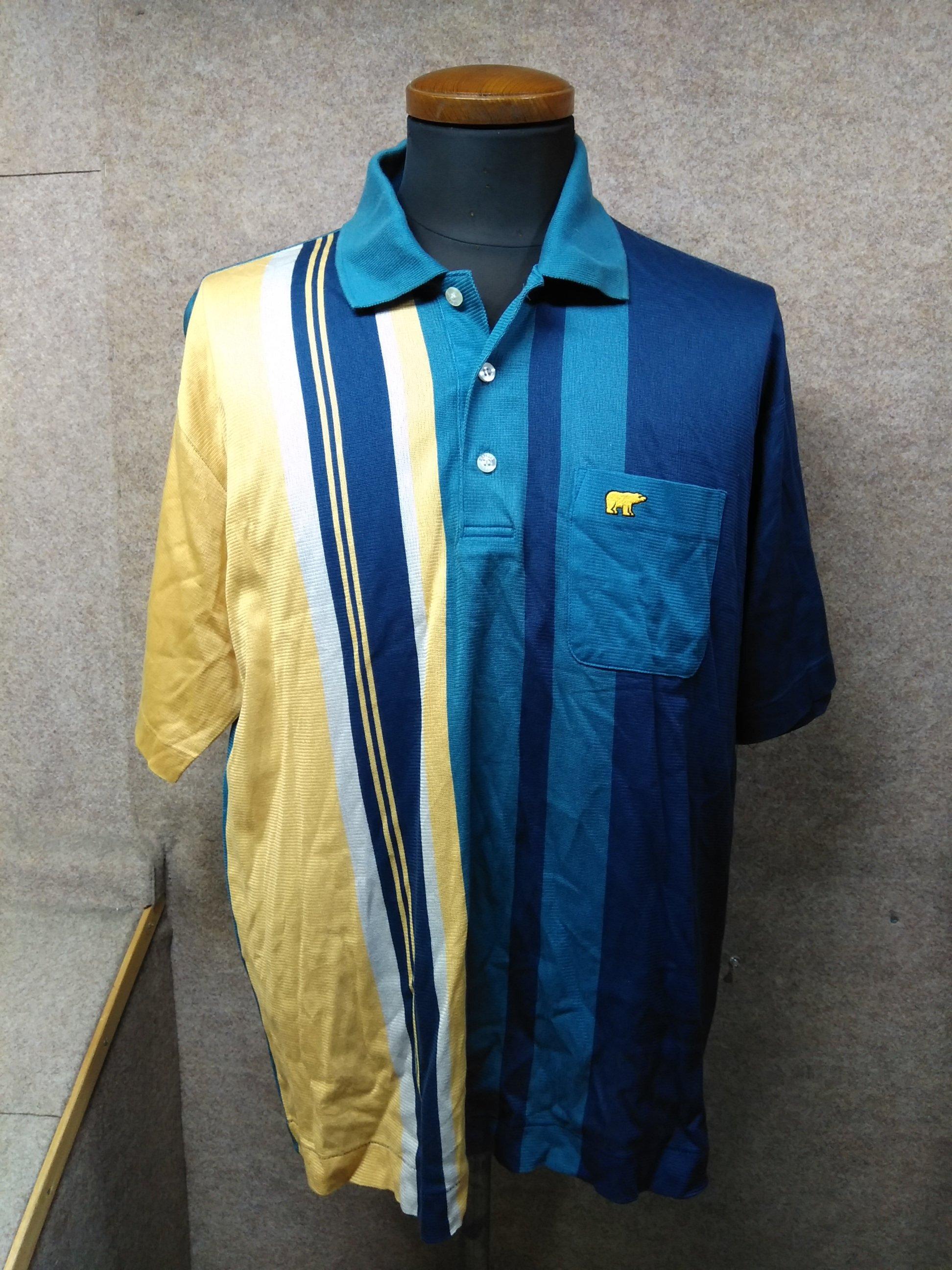ゴールデンベア メンズ ポロシャツ L ブルー×イエロー系 y1082c