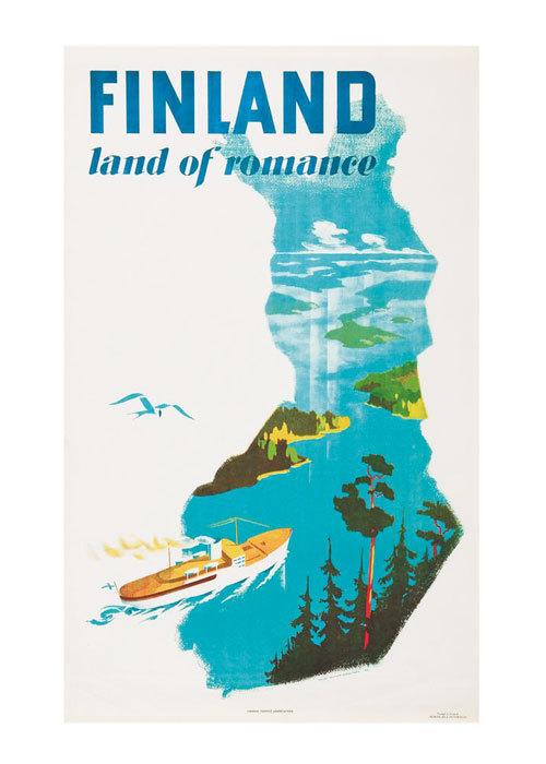 """Come to Finland カムトゥフィンランド インテリア レトロ A4 アートポスター """"ロマンスの国"""""""