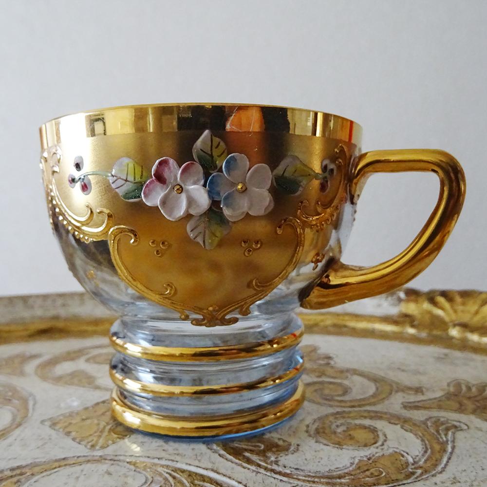 チェコ ボヘミアガラス 金彩エナメル すみれのカップ