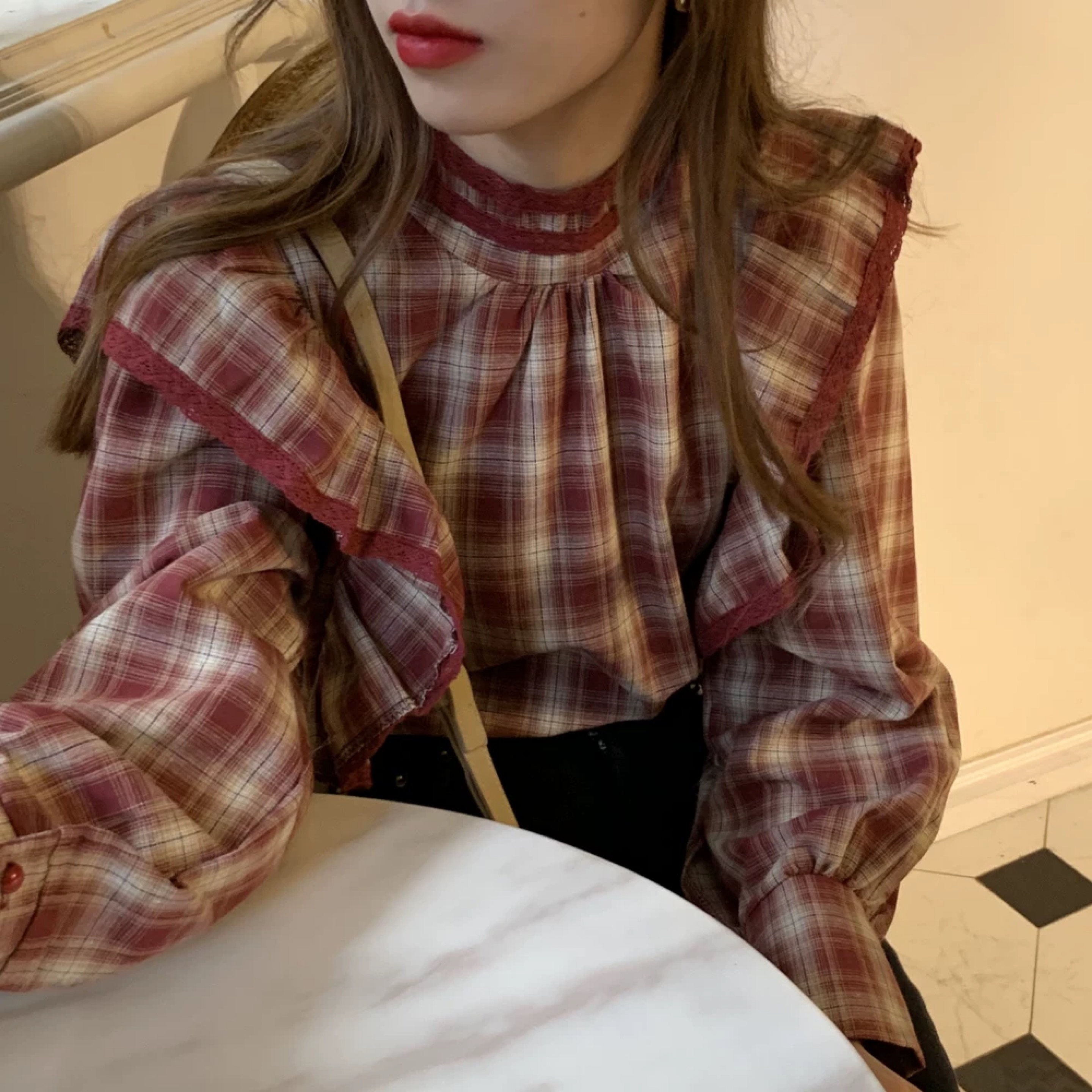 red check frill shirt