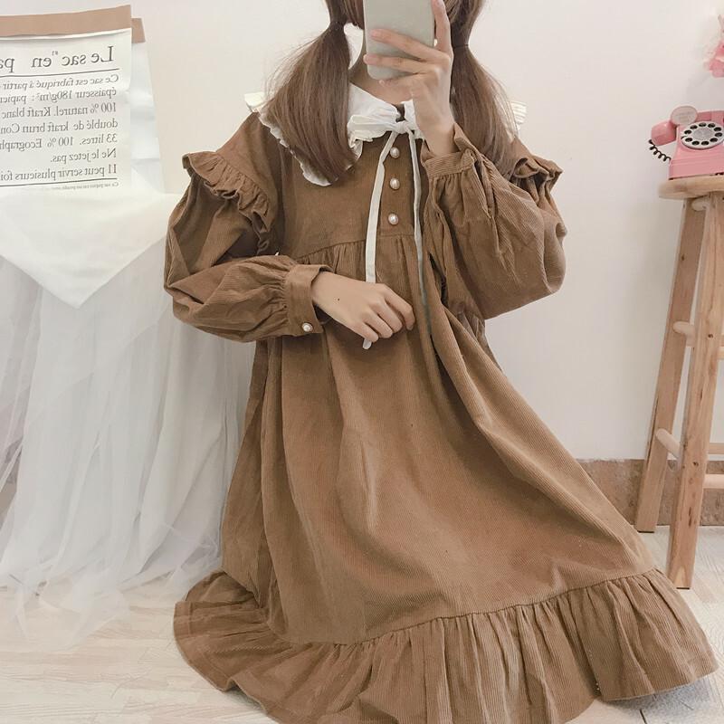 【送料無料】甘めな ガーリーコーデ ♡ コーデュロイ 付け襟風 Aライン フリル ワンピース