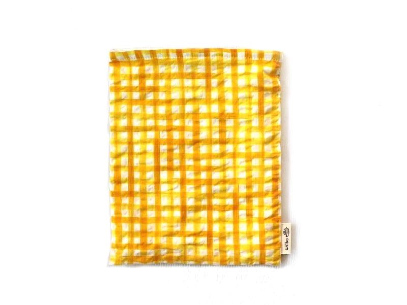 ハリネズミ用寝袋 M(夏用) 綿リップル×スムースニット チェック イエロー